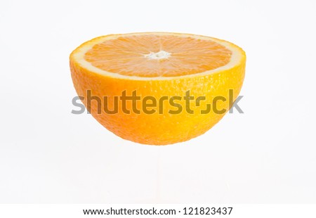 Orange fruit slice on white background
