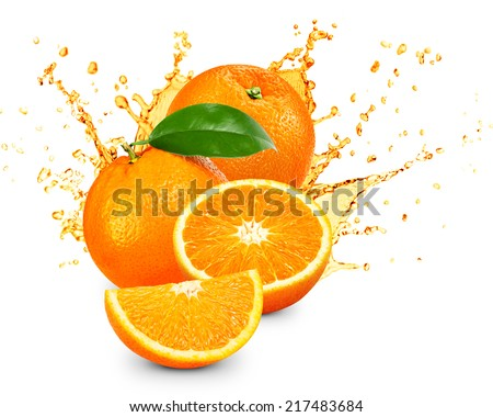 Orange fruit sliced and splash isolated  - stock photo