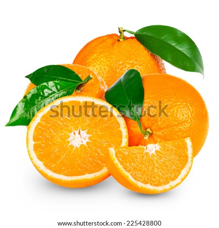 Orange fruit sliced isolated - stock photo