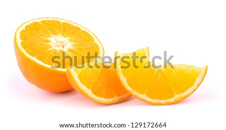 Orange fruit slices on white background