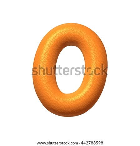 Orange fruit texture number 0 in 3d rendered illustration image on white background.