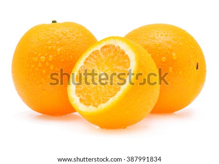 Orange fruit with drops isolated on white background - stock photo