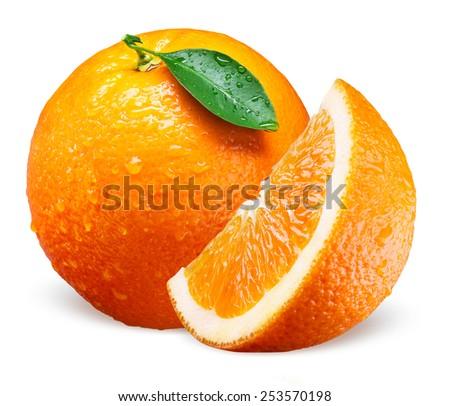 Orange fruit with drops. Whole, slice and leaf isolated on white - stock photo