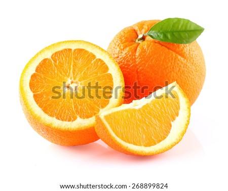 Orange fruit with leaf - stock photo