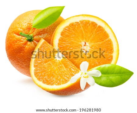 Orange fruit with leaf and flower isolated on white background. - stock photo