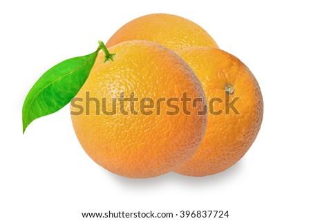 Orange fruit with leaves isolated on white background. - stock photo