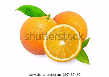 Orange fruit with leaves isolated on white background. Orange, juice, orange, juice, orange, juice, orange, juice, orange, juice, orange, juice, orange, juice, orange, juice, orange, juice, orange - stock photo