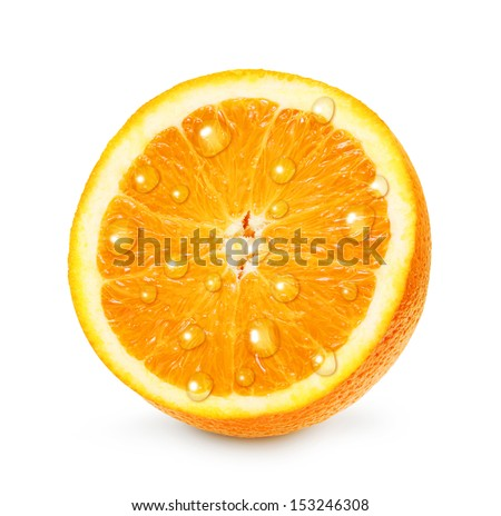 Orange fruit with water drops isolated on white background. - stock photo