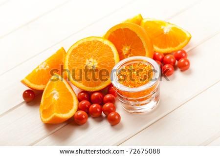 Orange - fruits and bath salt - stock photo