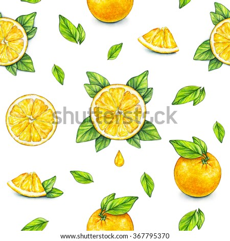 Orange fruits ripe with green leaves. Watercolor drawing. Handwork. Tropical fruit. Healthy food. Seamless pattern for design. - stock photo