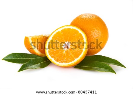 Orange fruits with leaves isolated over white background - stock photo
