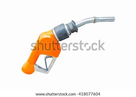 Orange fuel nozzle isolated on white background. - stock photo