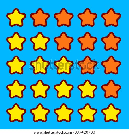 Orange game rating stars icons buttons interface set