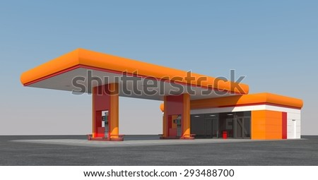 Orange gas station against the sky