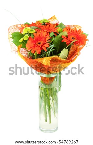 Orange gerbera bouquiet. Isolated on white background - stock photo