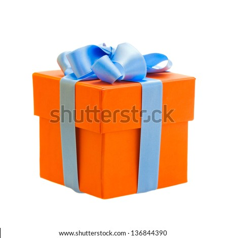 orange gift box with blue ribbon isolated om white background - stock photo