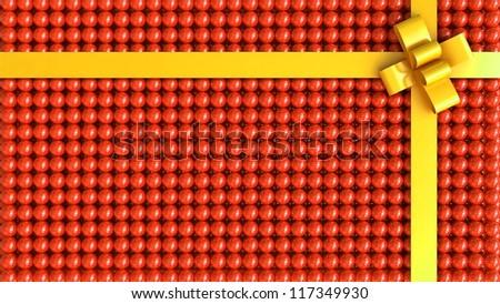 Orange gift box with yellow ribbon background - stock photo