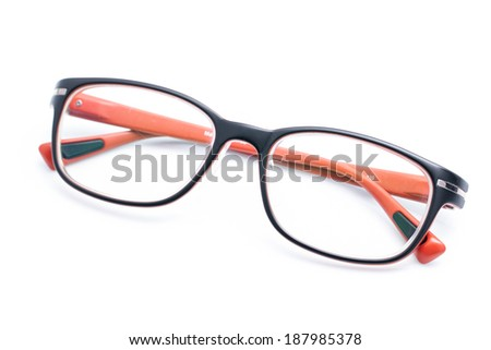 Orange Glasses isolated on white background with shadow.