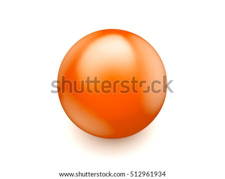 orange glossy ball 3d illustration isolated on white background