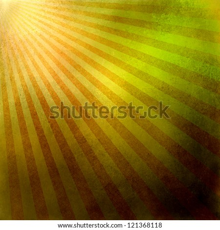 orange gold background retro striped layout, sunburst abstract background texture pattern, vintage grunge background sunrise design, old black border, bright colorful fun paper, green yellow red color - stock photo