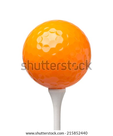 orange golf ball on tee isolated on white background - stock photo