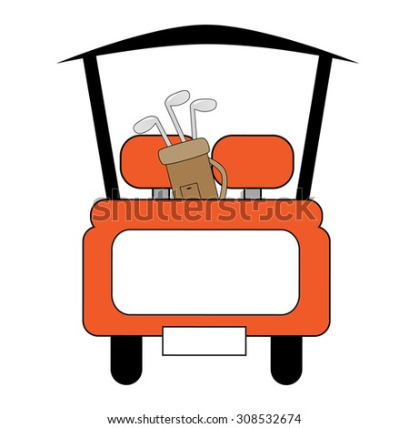 Orange Golf Cart - stock photo
