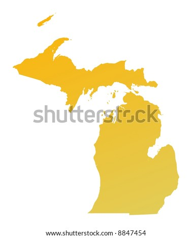 Orange gradient Michigan map, USA. Detailed, Mercator projection. - stock photo