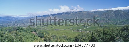 Orange groves and snowy mountains in the Ojai Valley, California - stock photo