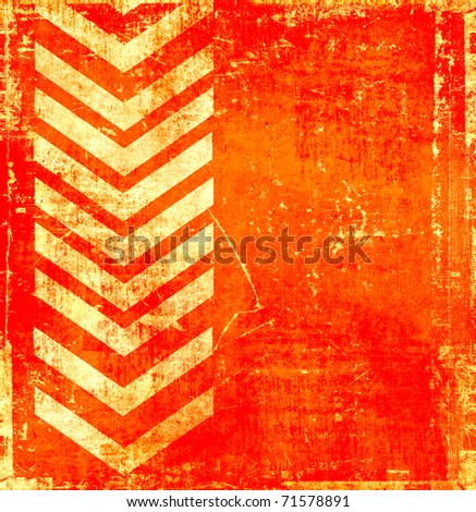 Orange grunge background with pointer - stock photo