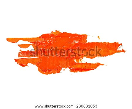 orange grunge brush strokes oil paint isolated on white