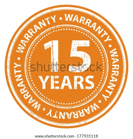 Orange Grunge Style 15 Years Warranty Icon, Badge, Label or Sticker for Product Warranty, Quality Control, Quality Assurance, Quality Management, CRM or Customer Satisfaction Concept Isolated on White - stock photo
