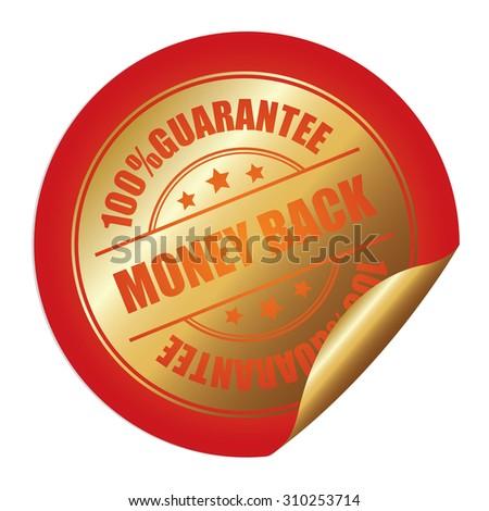 Orange 100% Guarantee Money Back Infographics Peeling Sticker, Label, Icon, Sign or Badge Isolated on White Background - stock photo