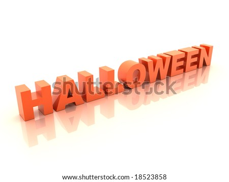 Orange halloween inscription on white background