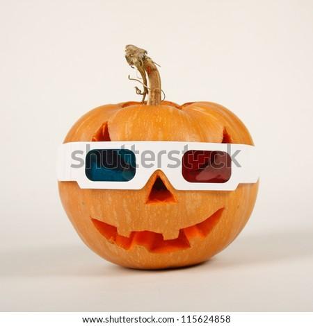 Orange halloween pumpkin on white background - stock photo