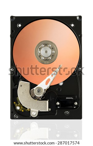 Orange Harddisk Drive on white isolated background with clipping path. - stock photo