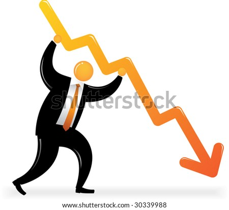 Orange Head Man with black suit holding downtrend chart