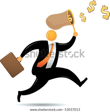 Orange Head running chasing flying dollar - stock photo
