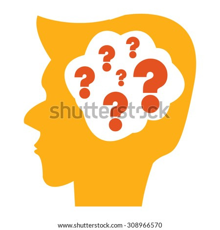Orange Head With Question Mark Brain Infographics Flat Icon, Sign Isolated on White Background