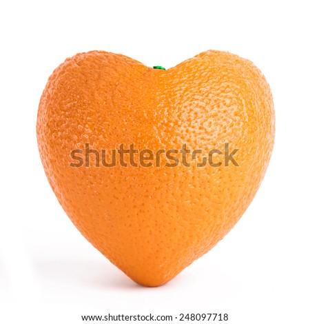 Orange heart - stock photo