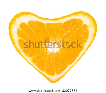 orange heart, isolated on white.