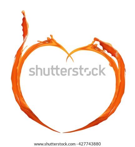Orange heart made of paint splash isolated on white - stock photo
