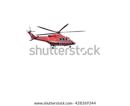 Orange helicopter in flight on white background, Isolated