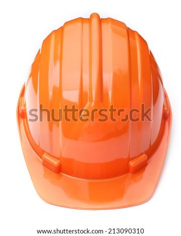 orange helmet isolated on white background - stock photo