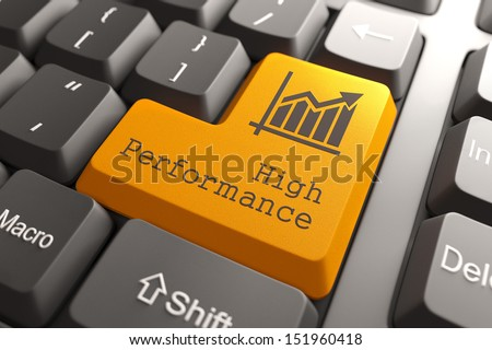 Orange High Performance Button on Computer Keyboard. Business Concept. - stock photo