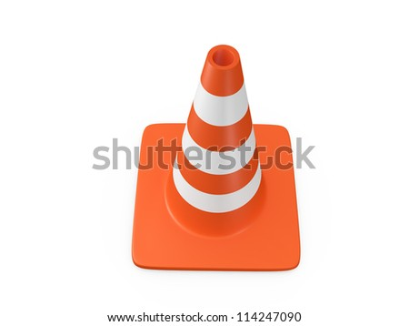 Orange highway traffic cone with white stripes, isolated on white background.