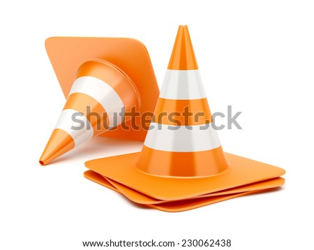 Orange highway traffic construction cones with white stripes isolated on white background - stock photo