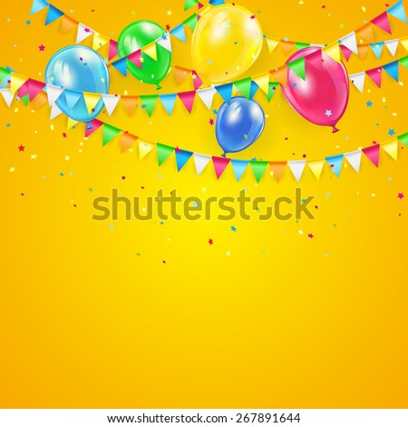 Orange Holiday background with colorful balloons, pennants and confetti, illustration. - stock photo