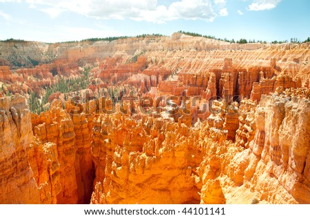 orange hoodoo rock formations from Sunset Point