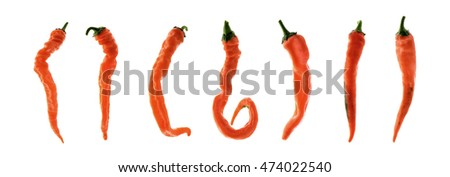 orange  hot chili pepper isolated on a white background