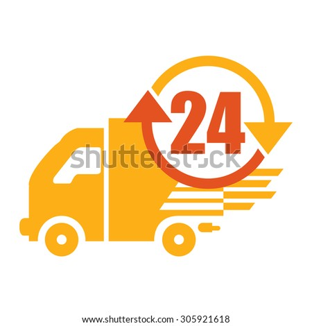 Orange 24 Hours Delivery Infographics Flat Icon, Sign Isolated on White Background - stock photo
